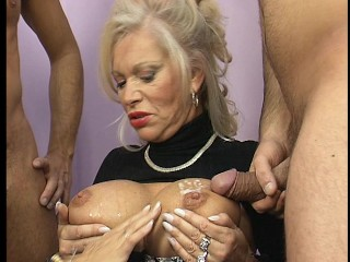 Old broads catch their loads on their chest