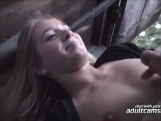 Blonde gets cumshot outside