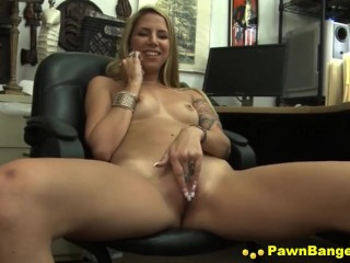 Dirty Blonde Slut Gets Massive Cock In Her Mouth & Vagina For Dollars