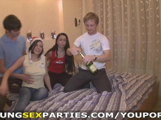 Young Sex Parties – New Year party with champagne and cum