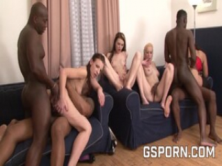 Lesbians with anal dildos and group sex for four cocks