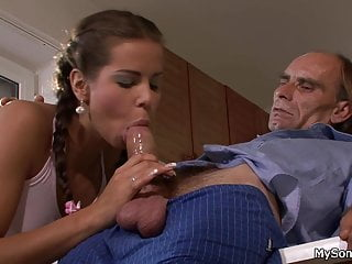 Young pigtailed girl sucks and rides old big cock