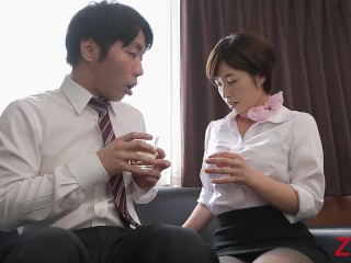 Hot office woman with big tits rides his big dick
