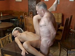 Pretty chick wanted to experience old and young sex with dad