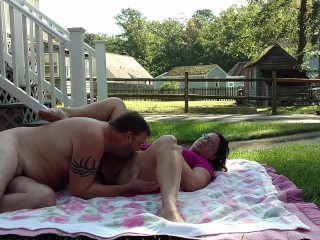 Amateur couple having passionate outdoor sex….
