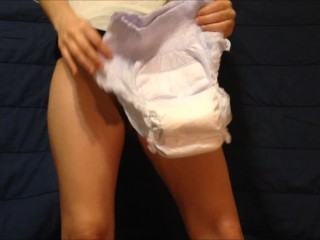 Orgasm In Wet Diaper Magic Wand ( Lusty_Lily )