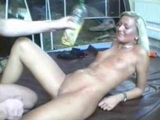 Hot blonde gets oiled up and fucked