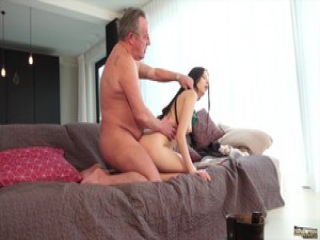 Old man Warming up my pussy and cums in my mouth