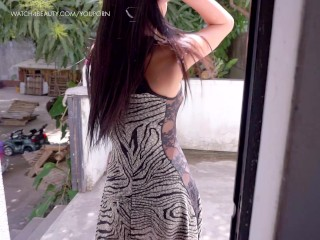 Latina teen masturbating in a garden