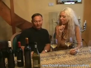 Old Dutch Blonde Whore On Couch
