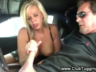 Amateur mature milf jerking cock