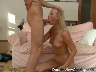 Banging a blonde babe in her tight delicious back hole