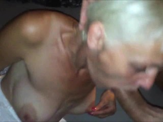 Blonde MILF blowing cock & swallows