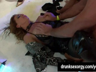 Sexy slags suck and fuck cocks at party