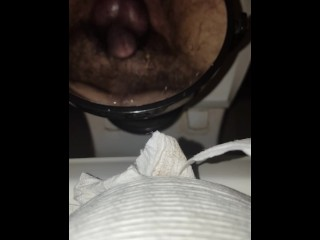Big squirt on mirror from prostate milking