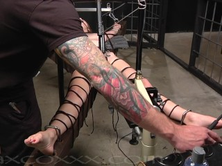 Bound and Gagged this Beauty is Brought to Orgasm on the Fucking Machine