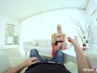 hot Busty blonde offers the best VR sex