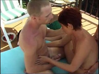 MILF takes on a bunch of guys at a pool (Part 2)