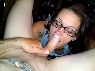 Jerkin off on her face and mouth after giving a blowjob