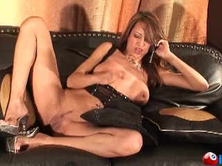 Hot cowgirl shoves a dildo from behind