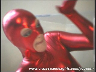 Red cateye spandex Angie in glasbox