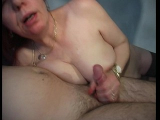 Older red head swallows some cock