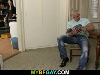 Big blonde hunk drilling his friend's ass when his GF's in the kitchen