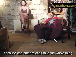 CHUBBY whore teases and dances for sportsman after interview