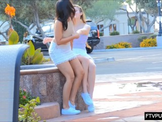 Upskirt pussy no panties in public