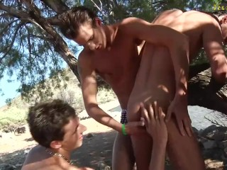 Bare beach party, threesome