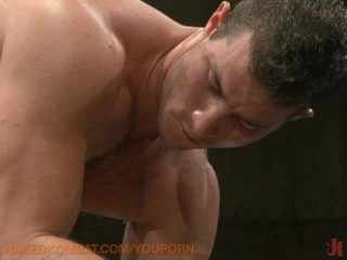 Muscle studs oil wrestling!