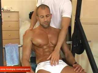 My ssexy neighbour made a porn: watch his huge cock gets wanked by a guy!