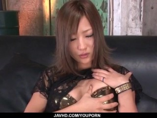 Aika, babe in black lingerie, amazes with her pussy