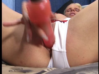 Blonde plays with stuffed dog and hairless pussy pt 1/2