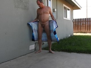 Peeing after opening my towel.