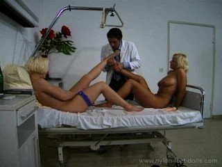 Hot Nylon Threesome with the Doctor