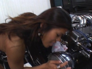 Nasty latina giving head and getting off on the headlamp