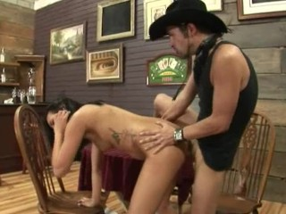 brunett and cowboy sex in the pub