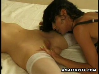 2 hot amateur lesbians share one cock with cumshot