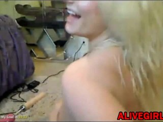 Hot busty blonde Kristin Kavallari fucks with sex machine and squirts fountain