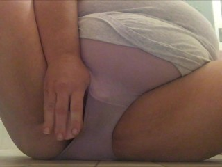 BBW fucks her pussy in the shower while wearing panties & pisses in them