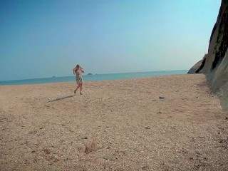 perfect blowjob at the sunny public beach by blonde russian teen dirty talk