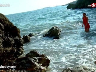 My Dirty Hobby – Hot brunette fucked on a rocky shore