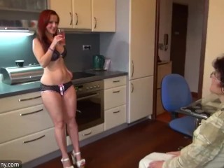 Old granny and sexy young girl masturbating together