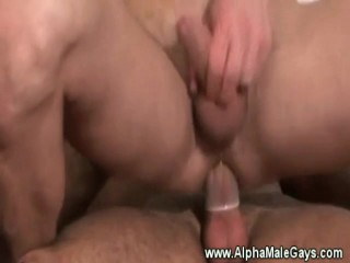 Gay stud sitting on hard dick whille wanking his cock