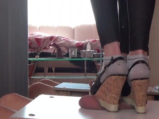 Cruel crushed cock and ball in wedges