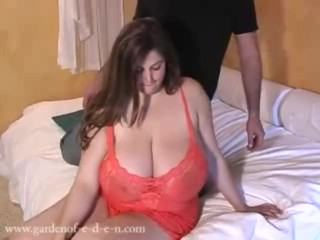 Big boobed Eden More huge tits rubbed by a lucky guy