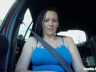 Wife Sucks Husband In Car While Driving And Plays With Cum On Her Big Tits