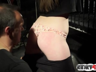 Hot submissive spanking with cumshot
