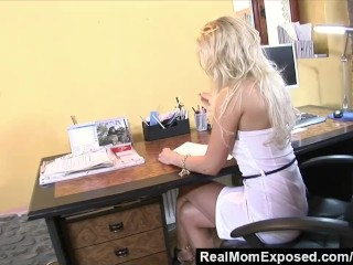 RealMomExposed – Milf neglects her job but certainly not the boss's cock